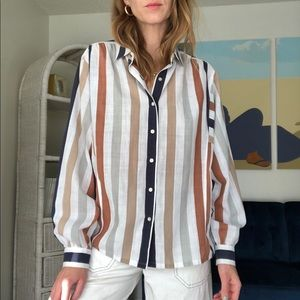 Vintage Striped Button Up Top